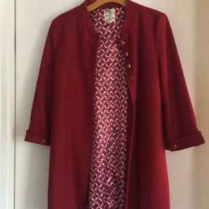 Tulle Red Vintage Style Coat Size Medium